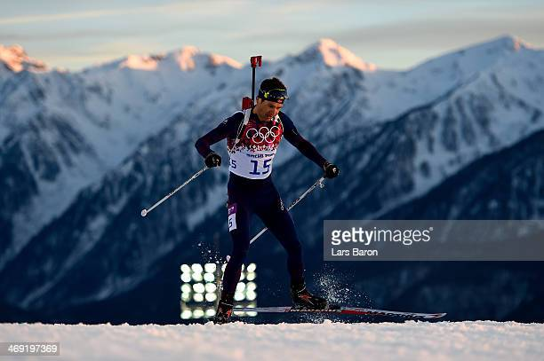 Ole Einar Bjoerndalen of Norway competes in the Men's Individual 20 km during day six of the Sochi 2014 Winter Olympics at Laura Cross-country Ski &...