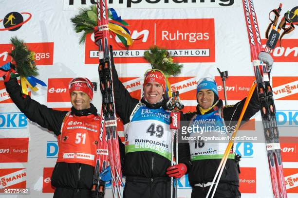 Ole Einar Bjoerndalen of Norway, Emil Hegle Svendsen of Norway and Michael Greis of Germany on the podium after the men's sprint in the e.on Ruhrgas...