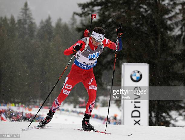 Ole Einar Bjoerndalen of Norway in action during the IBU Biathlon World Cup Men's Sprint on January 17 2015 in Ruhpolding Germany