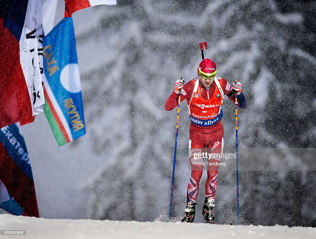 Ole Einar Bjoerndalen of Norway in action during the Men«s 15 km mass start Biathlon race at the IBU Biathlon World Cup Ruhpolding on January 16, 2016 in Ruhpolding, Germany.