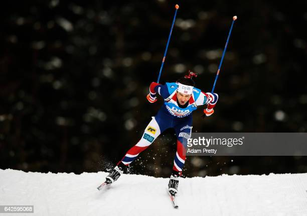 Ole Einar Bjoerndalen of Norway in action during the Men's 4x 75km relay competition of the IBU World Championships Biathlon 2017 at the Biathlon...