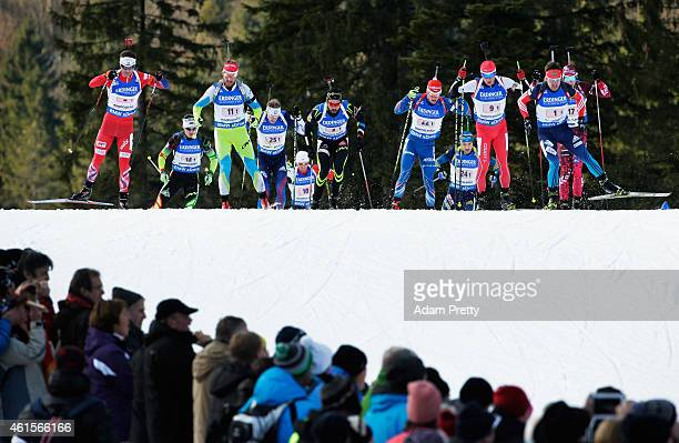 Ole Einar Bjoerndalen of Norway leads the pack on lap 2 during the IBU Biathlon World Cup Men's Relay on January 15 2015 in Ruhpolding Germany