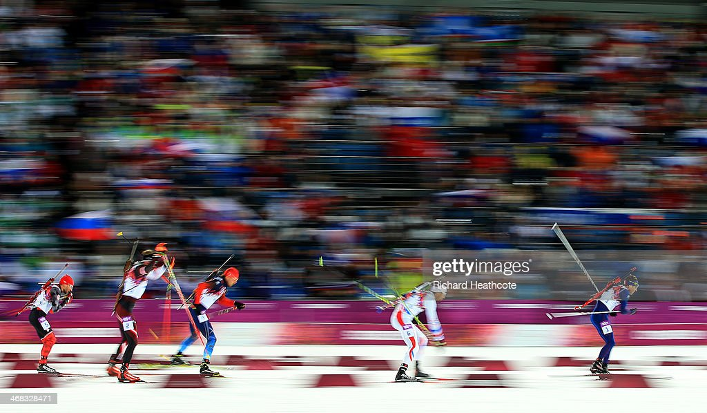 Ole Einar Bjoerndalen of Norway, Martin Fourcade of France, Anton Ahipulin of Russia, Dominik Landertinger of Austria and Jean-Philippe le Guellec of Canada= compete in the Men's 12.5 km Pursuit during day three of the Sochi 2014 Winter Olympics at Laura Cross-country Ski & Biathlon Center on February 10, 2014 in Sochi, Russia.
