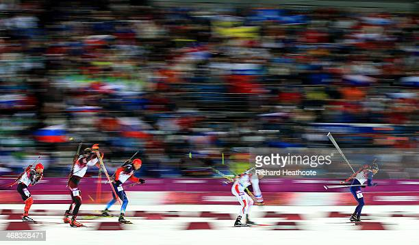 Ole Einar Bjoerndalen of Norway Martin Fourcade of France Anton Ahipulin of Russia Dominik Landertinger of Austria and JeanPhilippe le Guellec of...