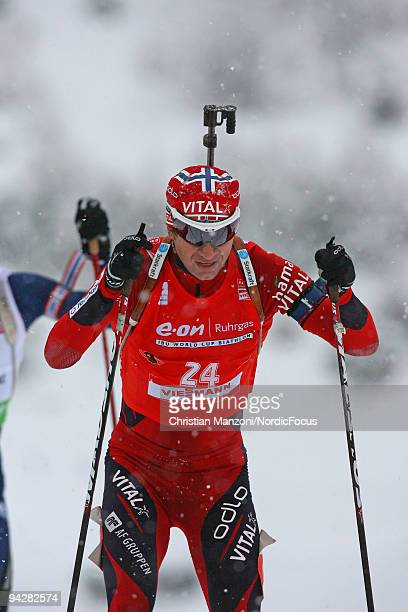 Ole Einar Bjoerndalen of Norway on the way to his 91st victory during the men's 10km sprint on December 11 2009 in Hochfilzen Austria