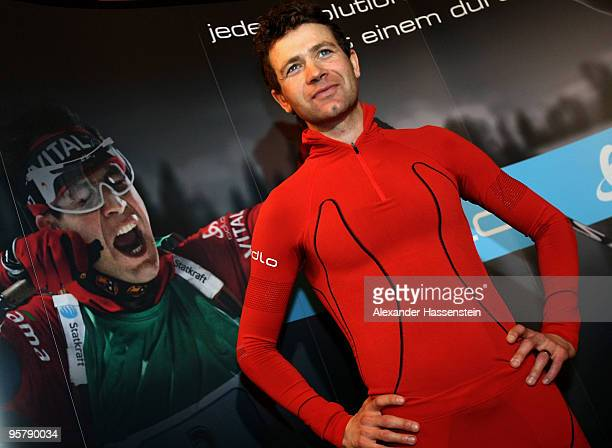 Ole Einar Bjoerndalen of Norway poses in his new Odlo race suit during a press conference of the launch of the new Odlo race suit on January 15 2010...