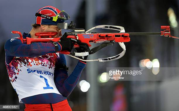 Ole Einar Bjoerndalen of Norway practices ahead of the Men's 12.5 km Pursuit during day three of the Sochi 2014 Winter Olympics at Laura...