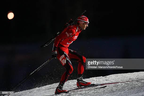 Ole Einar Bjoerndalen of Norway skis during Men's 10 km Sprint the EON Ruhrgas IBU Biathlon World Cup on December 5 2009 in Ostersund Sweden