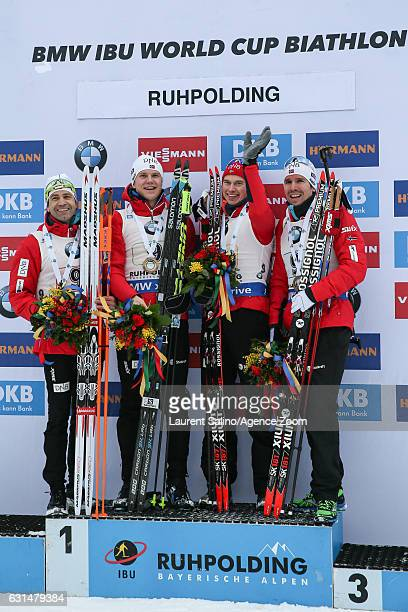 Ole Einar Bjoerndalen of Norway takes 1st place Vetle Sjastad Christiansen of Norway takes 1st place Henrik L Abeelund of Norway takes 1st place Emil...