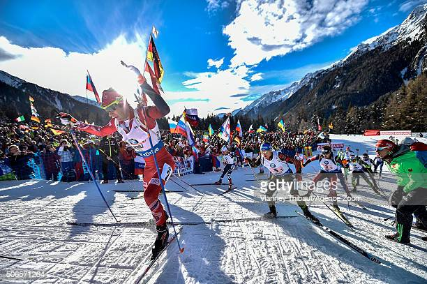 Ole Einar Bjoerndalen of Norway takes 3rd place during the IBU Biathlon World Cup Men's and Women's Relay on January 24 2016 in AntholzAnterselva...