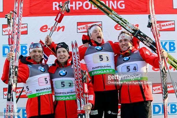 Ole Einar Bjoerndalen Rune Brattsveen Tarjei Boe and Emil Hegle Svendsen of Norway take 1st place during the IBU Biathlon World Championships Men's...