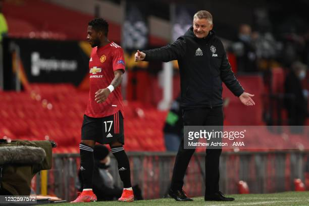 Ole Gunnar Solksjaer the head coach / manager of Manchester United gives Fred of Manchester United a thumbs up during the UEFA Europa League...