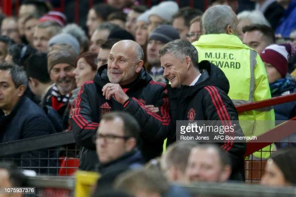 Ole Gunnar Solskjaer and Mike Phelan of Manchester United after their sides 41 win during the Premier League match between Manchester United and AFC...