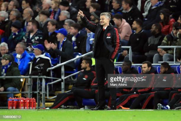 Ole Gunnar Solskjaer caretaker manager of Manchester United during the Premier League match between Cardiff City and Manchester United at Cardiff...