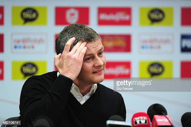 Ole Gunnar Solskjaer faces the press after being unveiled as the new Cardiff City Manager at Cardiff City Stadium on January 2 2014 in Cardiff Wales