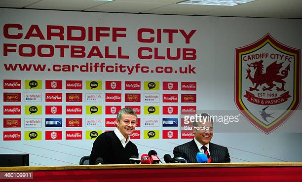 Ole Gunnar Solskjaer faces the press after being unveiled as the new Cardiff City Manager alonside chairman Mehmet Dalman at Cardiff City Stadium on...