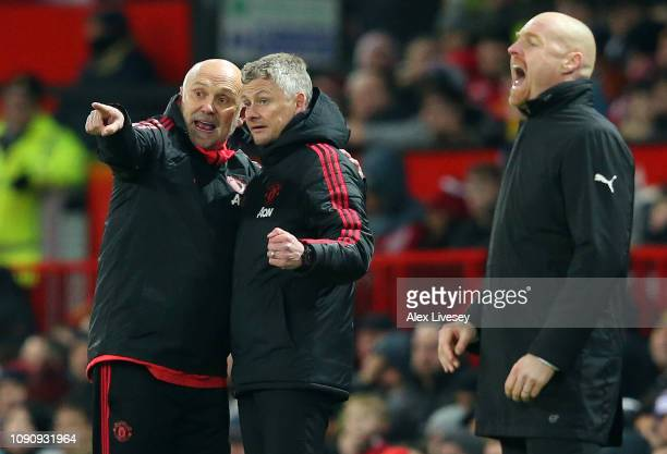 Ole Gunnar Solskjaer Interim Manager of Mancester United speaks to Mike Phelan Manchester United assistant manager during the Premier League match...