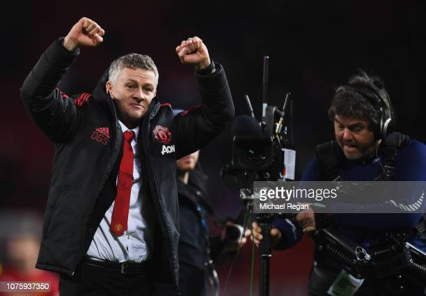 Ole Gunnar Solskjaer Interim Manager of Manchester United celebrates victory after the Premier League match between Manchester United and AFC...
