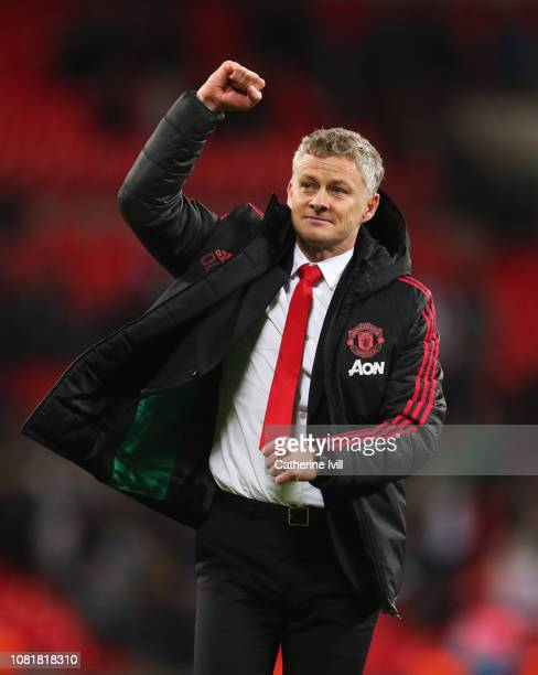 Ole Gunnar Solskjaer Interim Manager of Manchester United celebrates victory after the Premier League match between Tottenham Hotspur and Manchester...