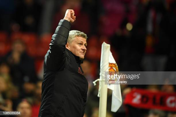 Ole Gunnar Solskjaer Interim Manager of Manchester United celebrates following the Premier League match between Manchester United and Brighton Hove...