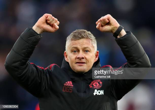 Ole Gunnar Solskjaer Interim Manager of Manchester United celebrates victory following the Premier League match between Leicester City and Manchester...