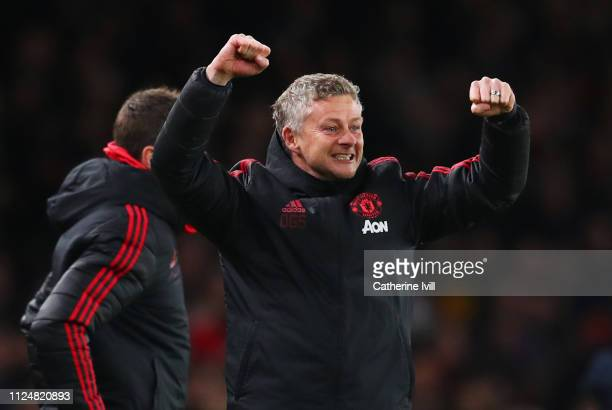 Ole Gunnar Solskjaer Interim Manager of Manchester United celebrates as Jesse Lingard of Manchester United scores his team's second goal during the...