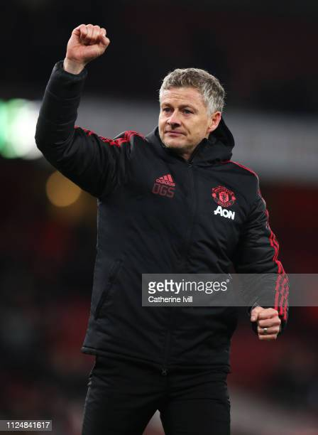 Ole Gunnar Solskjaer Interim Manager of Manchester United celebrates victory after the FA Cup Fourth Round match between Arsenal and Manchester...