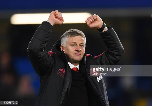 Ole Gunnar Solskjaer Interim Manager of Manchester United celebrates victory after the FA Cup Fifth Round match between Chelsea and Manchester United...