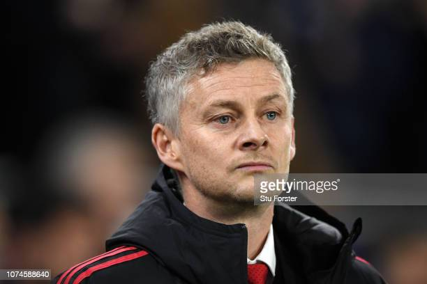 Ole Gunnar Solskjaer Interim Manager of Manchester United looks on prior to the Premier League match between Cardiff City and Manchester United at...
