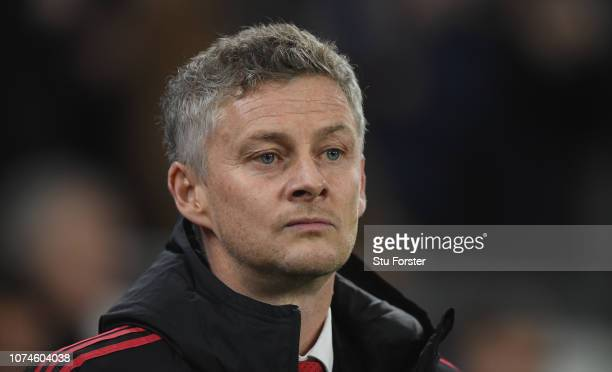 Ole Gunnar Solskjaer Interim Manager of Manchester United looks on before the Premier League match between Cardiff City and Manchester United at...