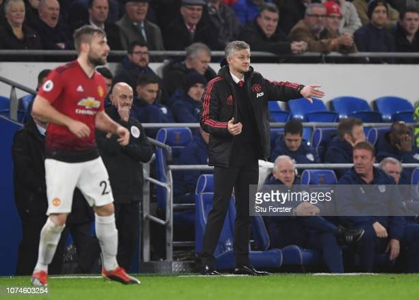 Ole Gunnar Solskjaer Interim Manager of Manchester United reacts during the Premier League match between Cardiff City and Manchester United at...