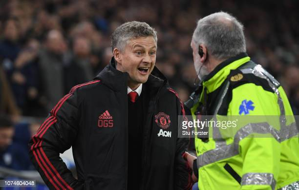 Ole Gunnar Solskjaer Interim Manager of Manchester United reacts before the Premier League match between Cardiff City and Manchester United at...
