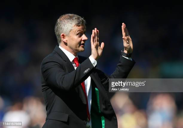 Ole Gunnar Solskjaer Manager of Manchester United acknowledges the travelling fans as he apologises after the Premier League match between Everton FC...