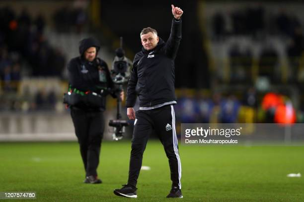 Ole Gunnar Solskjaer, Manager of Manchester United acknowledges the fans after the UEFA Europa League round of 32 first leg match between Club Brugge...