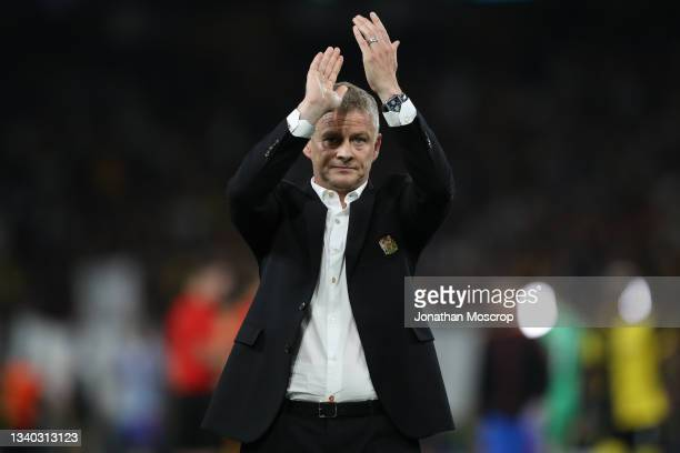 Ole Gunnar Solskjaer manager of Manchester United ackowledges the travelling fans following the 2-1 defeat in the UEFA Champions League group F match...