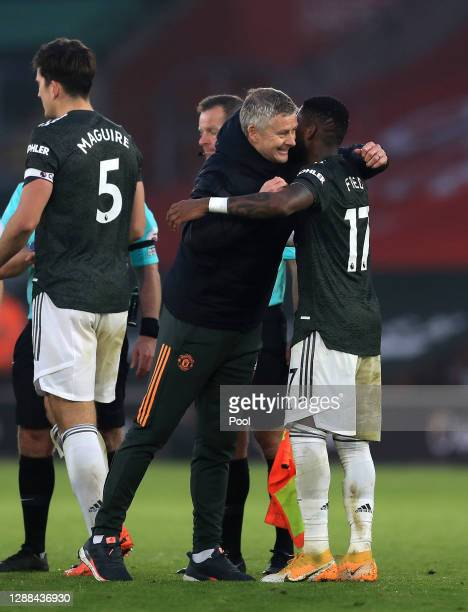 Ole Gunnar Solskjaer Manager of Manchester United and Fred of Manchester United celebrate following their sides victory in the Premier League match...