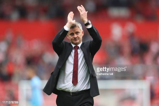 Ole Gunnar Solskjaer manager of Manchester United applauds after the Premier League match between Southampton FC and Manchester United at St Mary's...