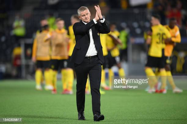 Ole Gunnar Solskjaer, Manager of Manchester United applauds fans after the UEFA Champions League group F match between BSC Young Boys and Manchester...