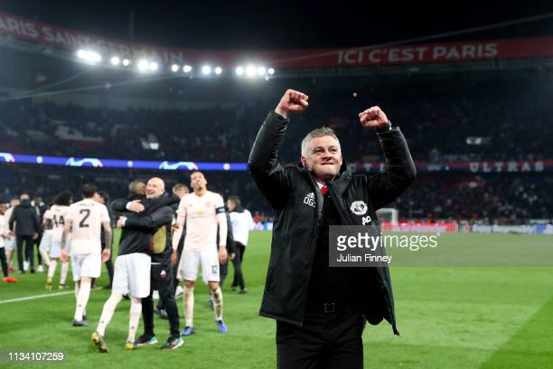 Ole Gunnar Solskjaer, Manager of Manchester United celebrates victory during the UEFA Champions League Round of 16 Second Leg match between Paris...