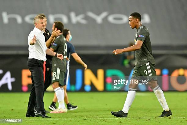 Ole Gunnar Solskjaer, Manager of Manchester United consoles Anthony Martial after their sides defeat in the UEFA Europa League Semi Final between...
