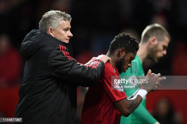 Ole Gunnar Solskjaer Manager of Manchester United consults Fred of Manchester United after the Premier League match between Manchester United and...