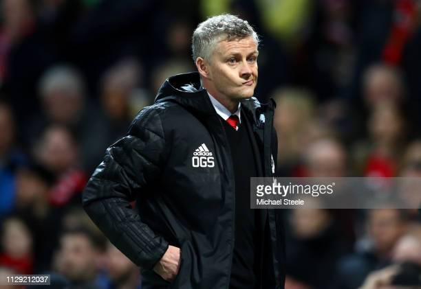 Ole Gunnar Solskjaer Manager of Manchester United during the UEFA Champions League Round of 16 First Leg match between Manchester United and Paris...