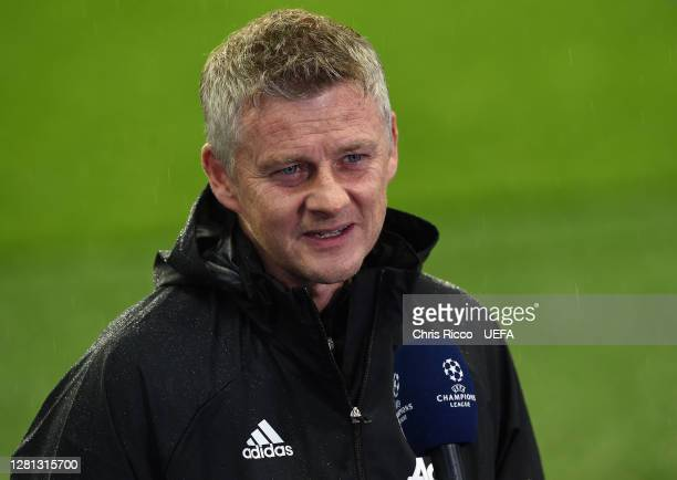 Ole Gunnar Solskjaer Manager of Manchester United is interviewed prior to the UEFA Champions League Group H stage match between Paris SaintGermain...