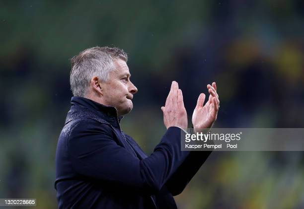 Ole Gunnar Solskjaer, Manager of Manchester United looks dejected as he acknowledges the fans following the UEFA Europa League Final between...