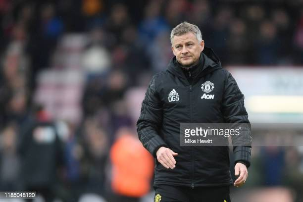 Ole Gunnar Solskjaer Manager of Manchester United looks dejected following the Premier League match between AFC Bournemouth and Manchester United at...