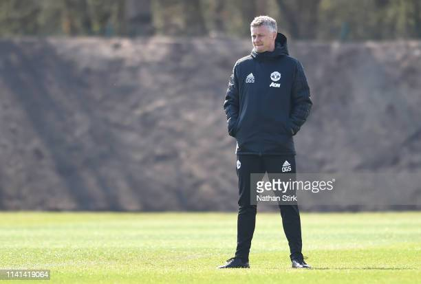 Ole Gunnar Solskjaer Manager of Manchester United looks on during the Manchester United training session ahead of the UEFA Champions League Quarter...