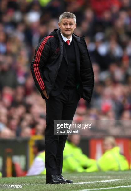 Ole Gunnar Solskjaer Manager of Manchester United looks on during the Premier League match between Manchester United and Chelsea FC at Old Trafford...