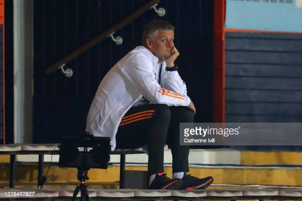 Ole Gunnar Solskjaer, Manager of Manchester United looks on during the Carabao Cup Third Round match between Luton Town and Manchester United at...