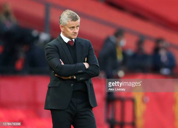 Ole Gunnar Solskjaer Manager of Manchester United looks on during the Premier League match between Manchester United and Tottenham Hotspur at Old...