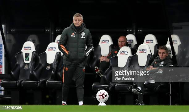 Ole Gunnar Solskjaer Manager of Manchester United looks on during the Premier League match between Newcastle United and Manchester United at St James...